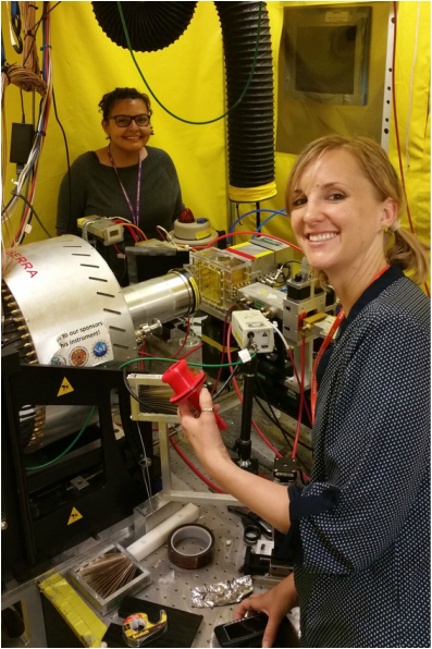 Claudia Back And Rebecca Front Holding The Sample Holder In SSRL Beamline 11 2 Hutch Loading Rebeccas Iron Oxide Samples